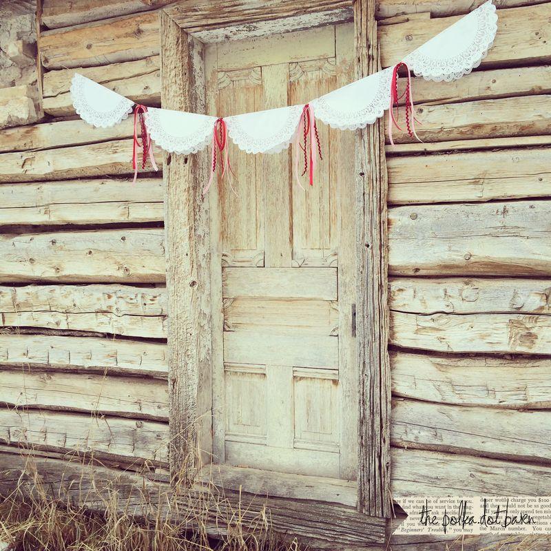 Valentine doily ribbon garland