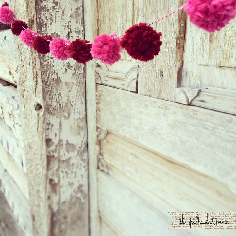 Red and pink pom pom garland